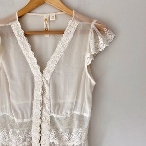 Adiva Ivory Lace Sheer Button Front Top